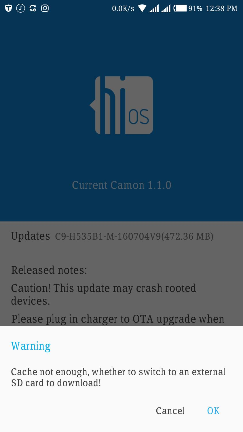 Tecno camon C9 update is available but can't download