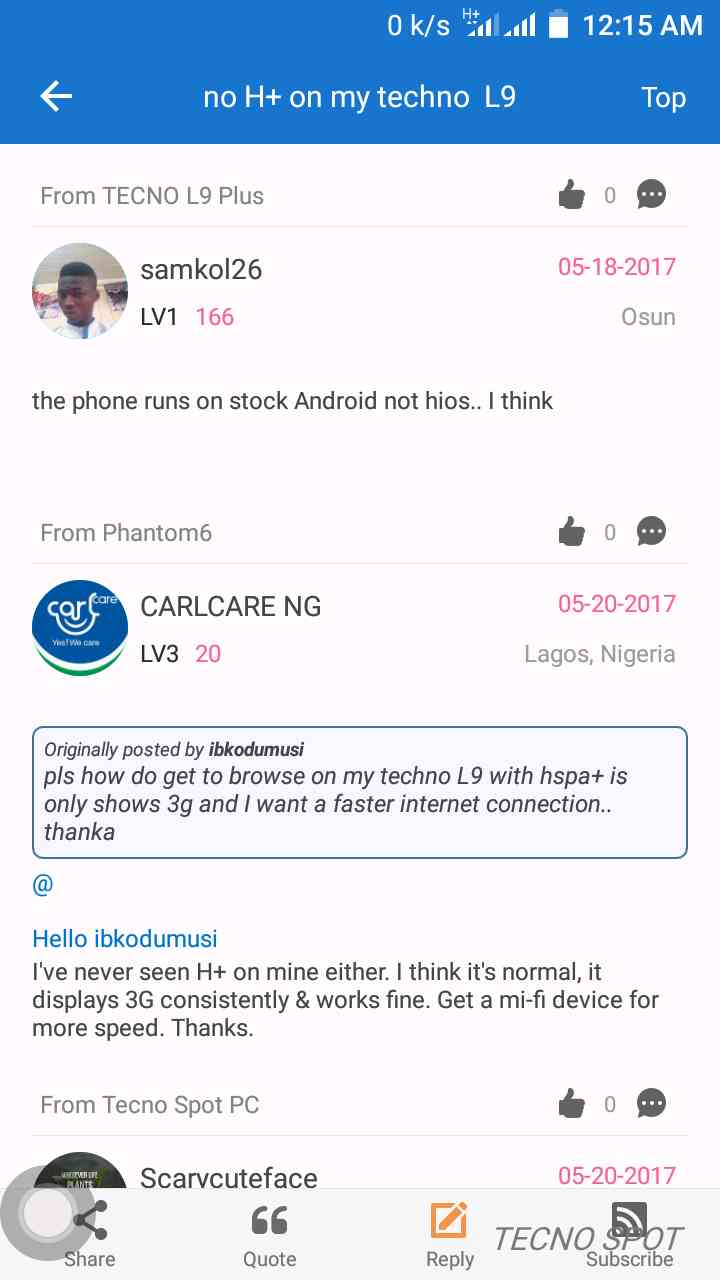 no H+ on my techno L9 - TECNO MOBILE COMMUNITY OFFICIAL FORUM