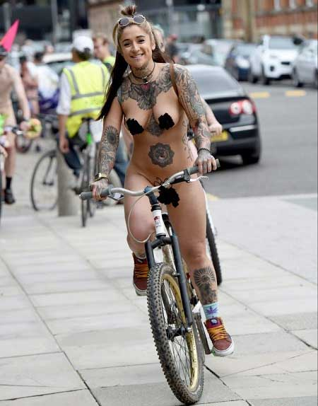 Totally naked on bicycle, lesbian group sex parties